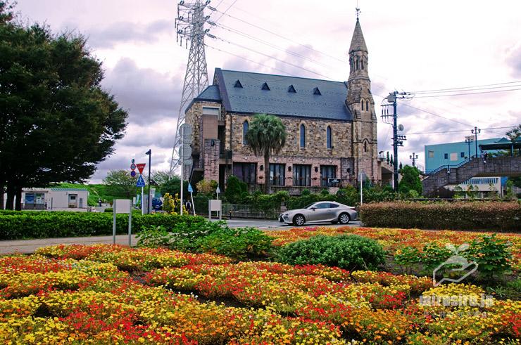 ポーチュラカ 平塚市・馬入ふれあい公園、背景はグランドビクトリア湘南(結婚式場) 2018/09/11